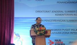 Sambutan oleh Menteri Perhubungan Budi Karya Sumadi atas kerjasama yang dilakukan oleh Ditjen SDPPI (Kemkominfo) dan BPSDM (Kemenhub) di Auditorium Adhiyana, Wisma Antara (14/1).