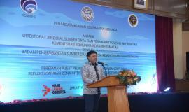 Sambutan Menkominfo Johnny G Plate pada acara Pembukaan Pusat Pelayanan Terpadu Ditjen SDPPI tahun 2020 di Gedung Wisma Antara dan Persiapan Zona Integritas Menuju Wilayah Birokrasi Bersih dan Melayani (WBBM) tahun 2020, di Auditorium Adhiyana, Wisma Antara (14/1).